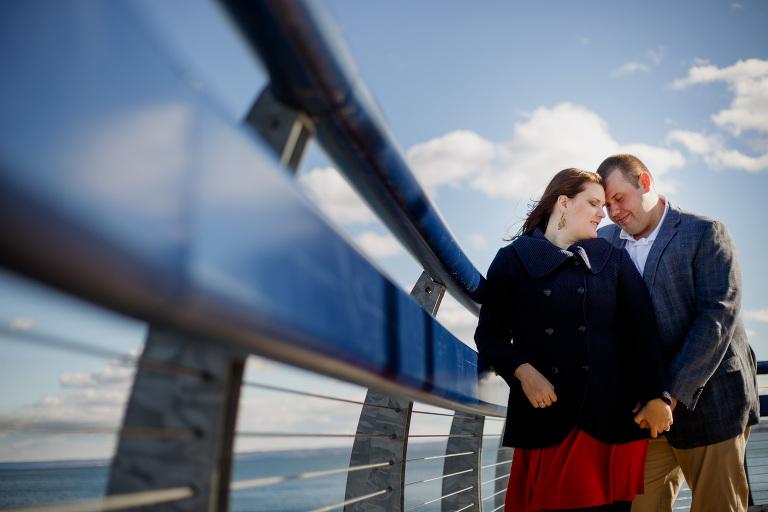 Beautiful engagement photo of a couple at Burlington's Waterfront.