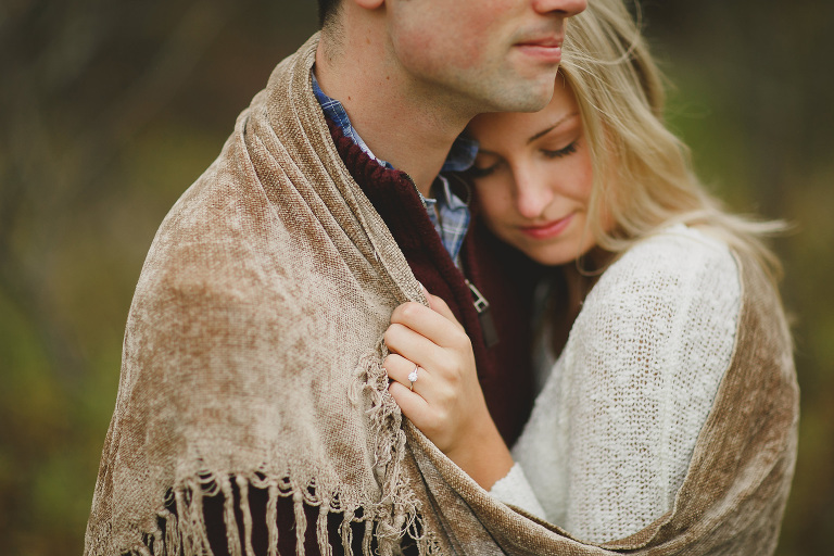 Portrait of a beautiful blonde girl with her fiance