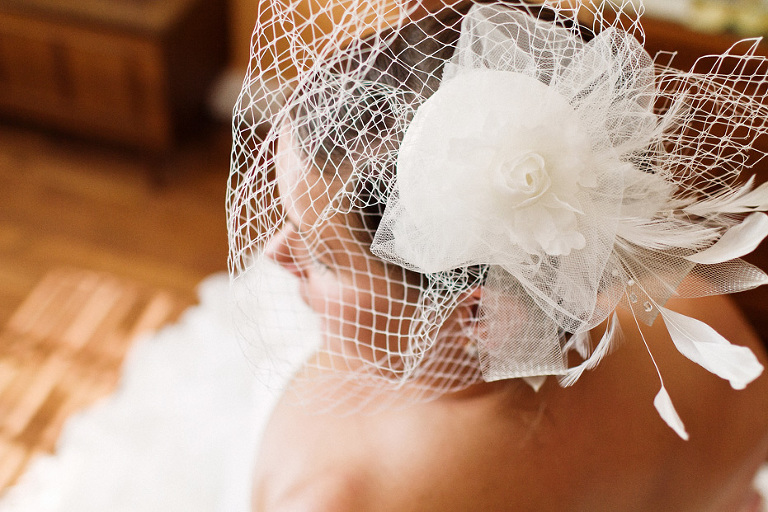 beautiful bird cage veil from Taylor's bridal in Elora, Ontario