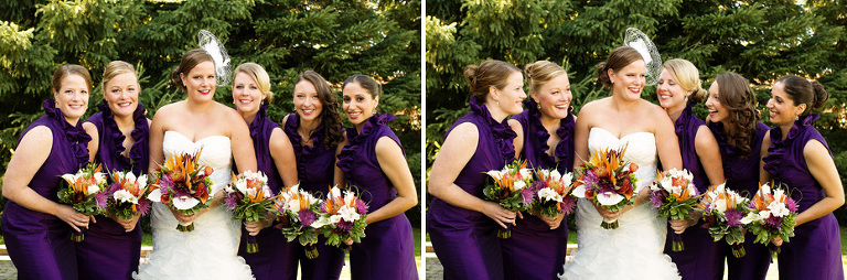 the elegant bride and her bridesmaids donning fashionable purple frocks
