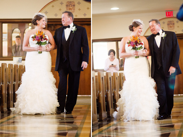the bride and her father walks down the aisle on her wedding day as shot by Kitchener wedding photojournalist