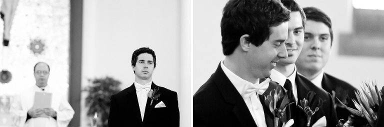 the groom as he watches his bride walk down the aisle