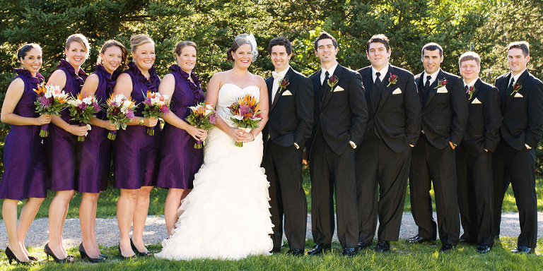 elegant wedding party clad in purple as photographed by Kitchener, Ontario wedding photographer