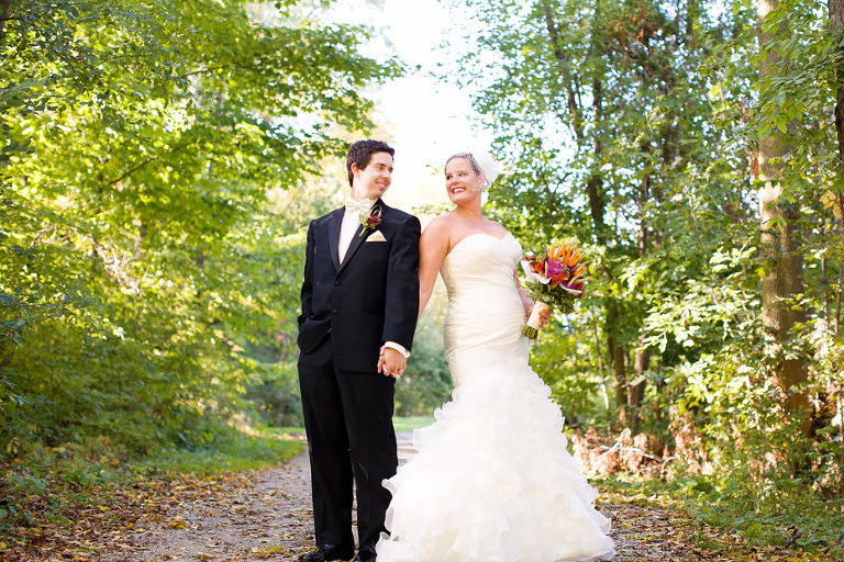 Beautiful portrait of the bride and groom on their wedding day in Kitchener, Ontario