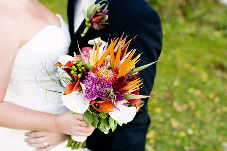 Beautiful tropical floral bouquet at a Kitchener wedding as photographed by Kitchener Fine Art wedding photographer