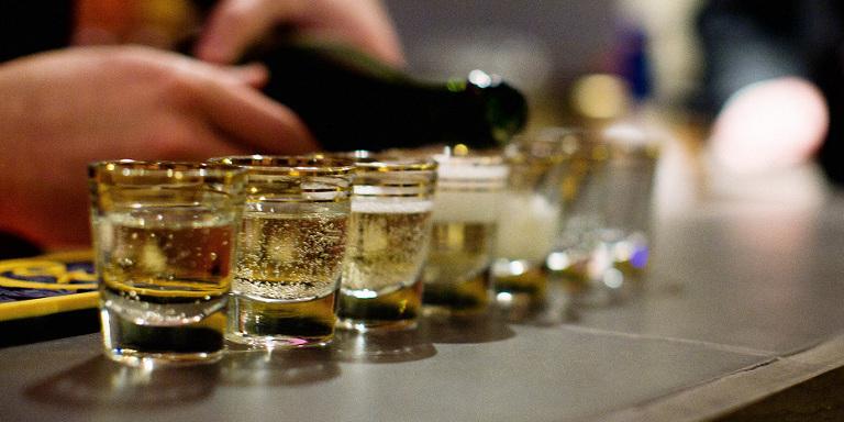 champagne in shot glasses