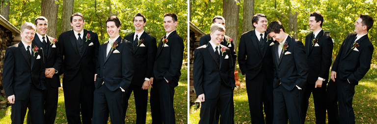 the groom and his groomsmen having fun as captured by Kitchener wedding photographer