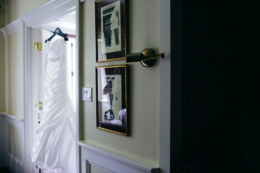 Toronto wedding photographer photographs the bride's wedding gown inside Langdon Hall's bridal suite.