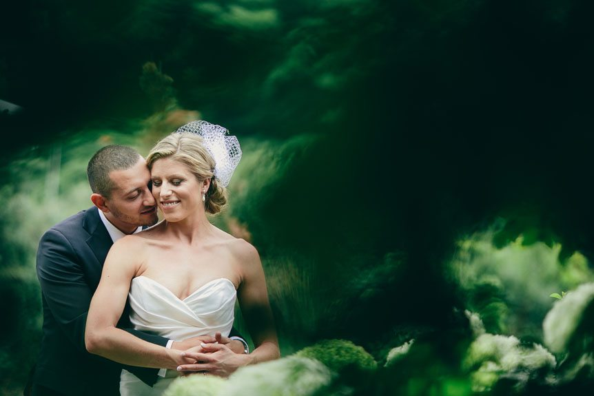 Toronto wedding photographer shoots a portrait of the bride and her groom in Langdon Hall.