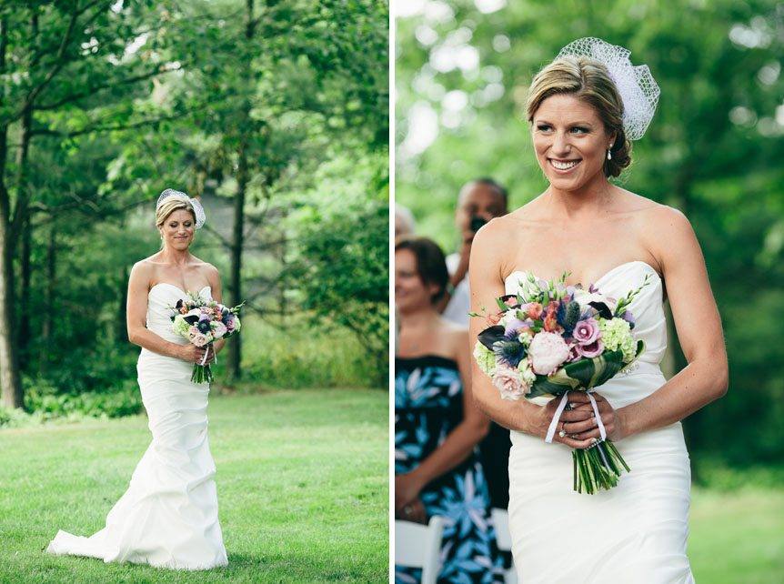 The beautiful bride walks down the aisle at a Langdon Hall outdoor wedding as photographed by Toronto wedding photographer.