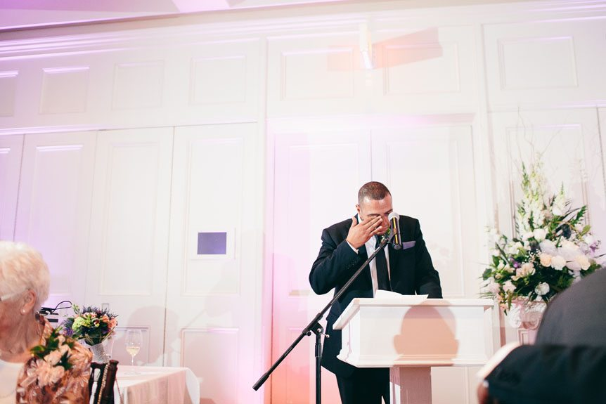 Toronto wedding photographer photographs an emotional moment at a Langdon Hall wedding.