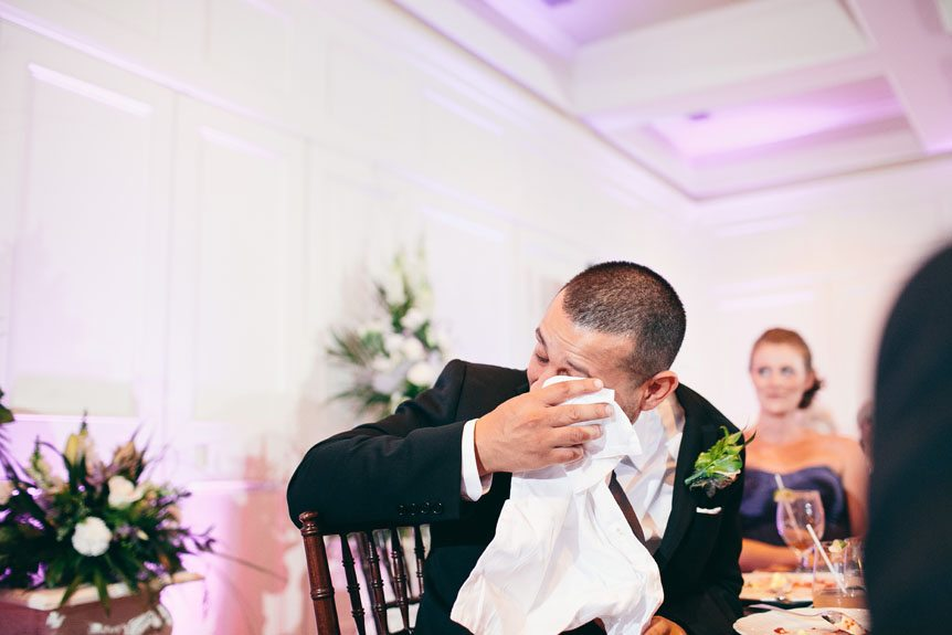 Emotional moments captured by Toronto wedding photographer at a Langdon Hall wedding.