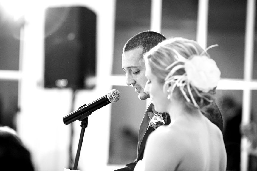 A groom becomes emotional at his Langdon Hall wedding reception as shot by Toronto wedding photographer.