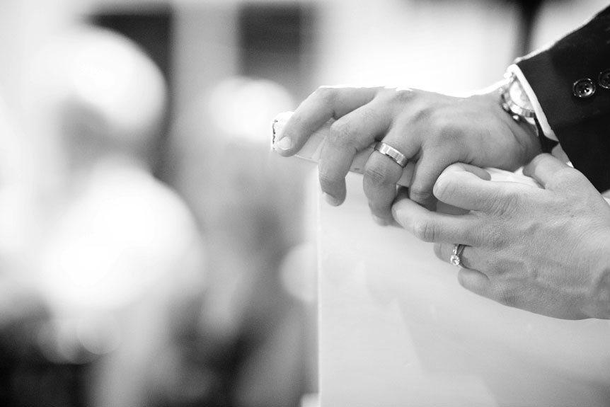 Toronto wedding photographer photographs details of the ring at a Langdon Hall wedding reception.