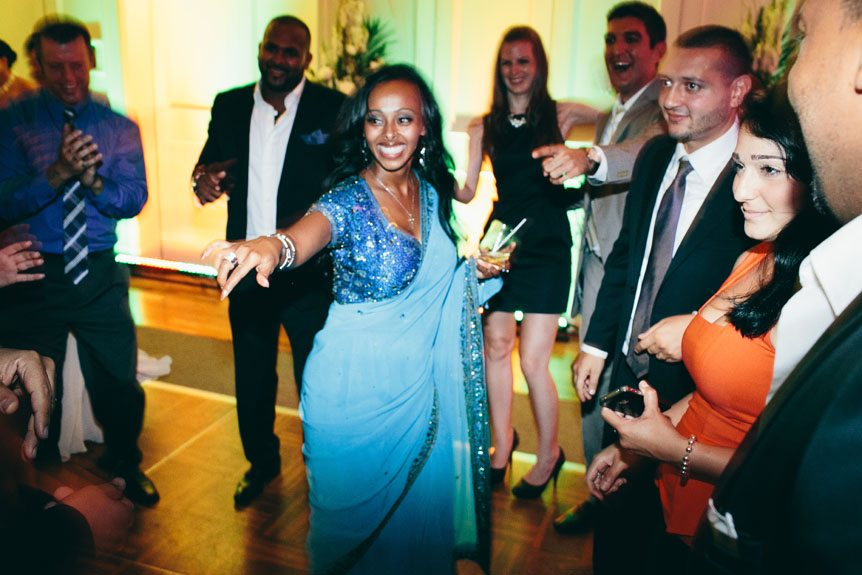 Toronto wedding photographer captures guests having fun at a Langdon Hall wedding reception.