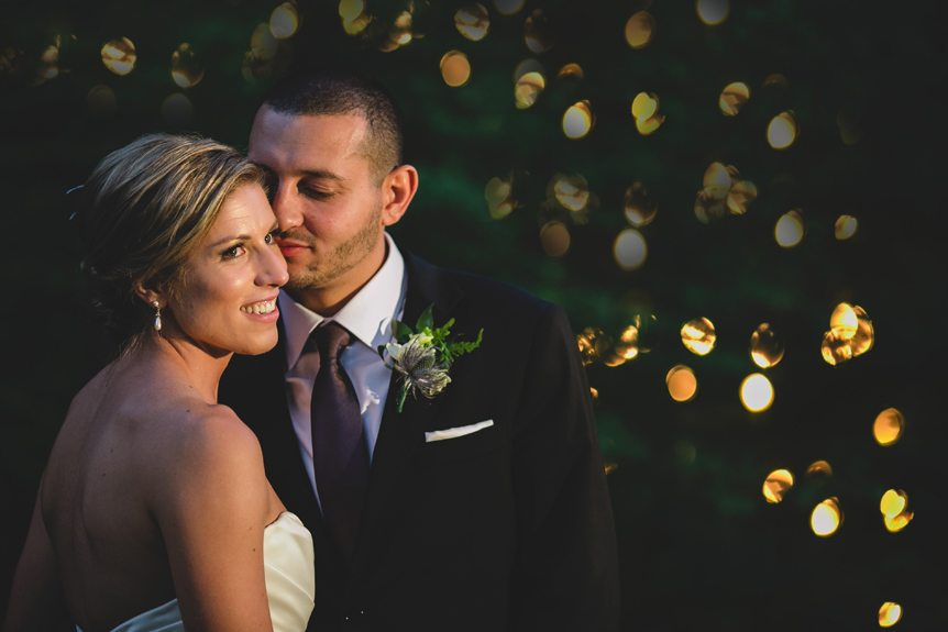 Toronto wedding photographer shoots a portrait of the bride and groom in Langdon Hall.