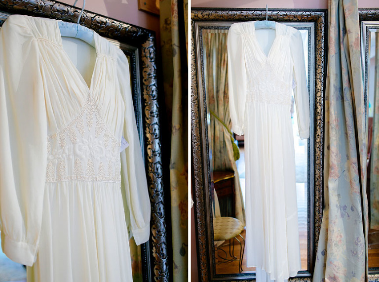 Images of a 1940's vintage wedding gown sold at Sweet Trash.