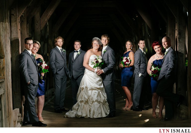 Flash composite portrait of the wedding party in Guelph, Ontario.
