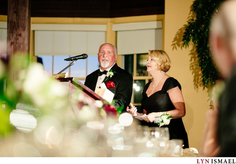 the groom's parents give a speech.