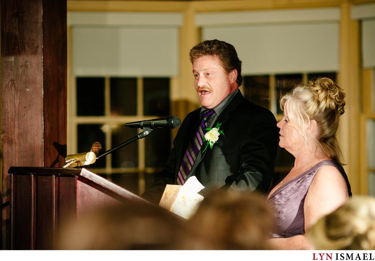 The father of the bride delivers a speech.
