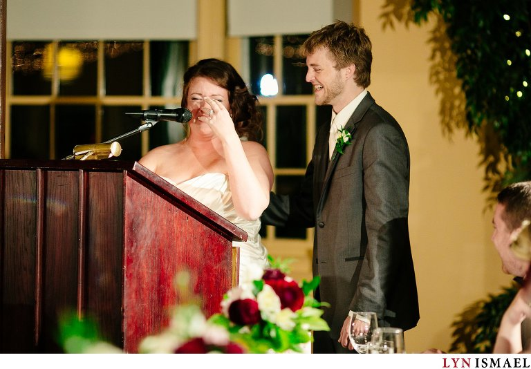 An emotional moment of the bride trying to deliver a speech.