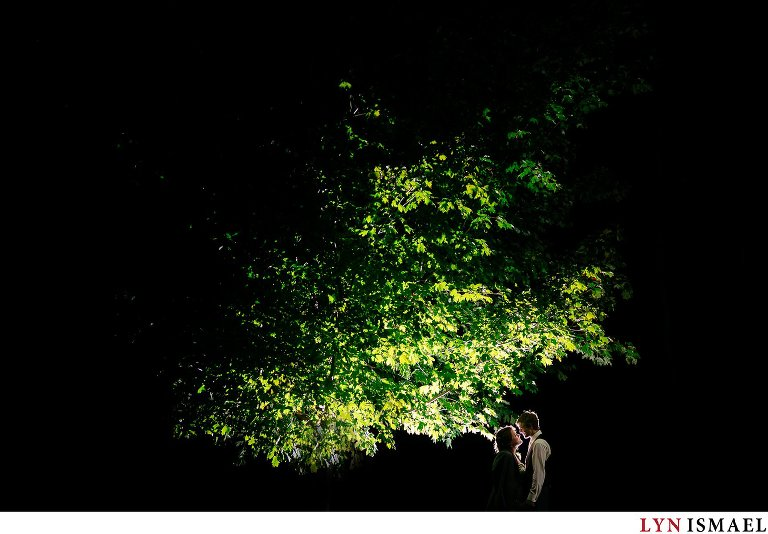 Portrait under the tree at night.