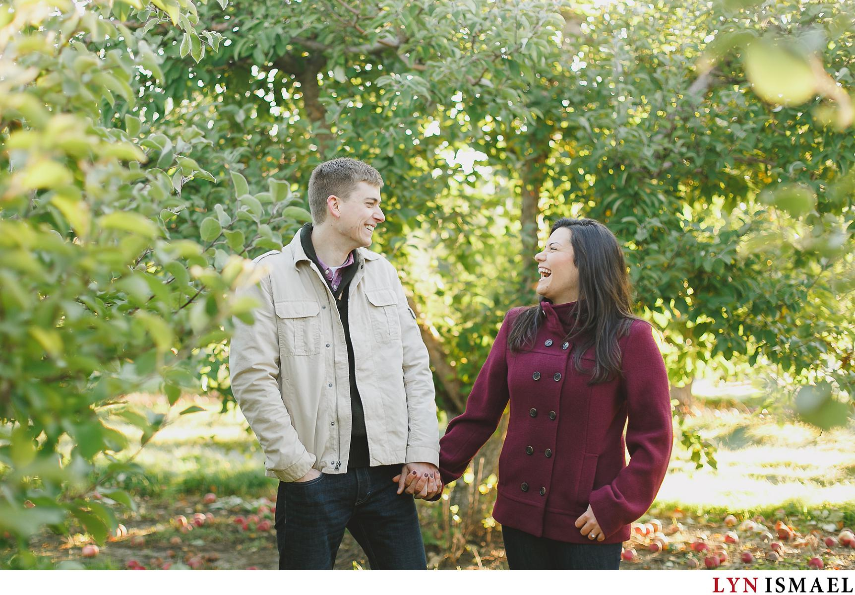 Apple Orchard Fall Engagement Session Deborah And Mike