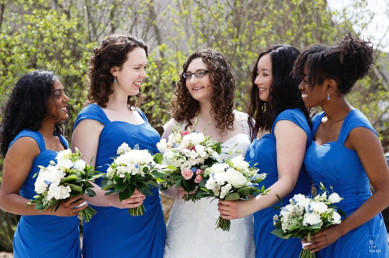 Bride and her bridesmaids at a wedding in Wellesley, Ontario.