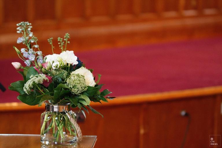 An elegant flower arrangement at the Kitchener Mennonite Brethren Church