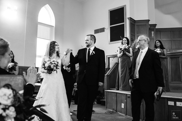 Bride and groom announced as newlyweds at the Kitchener Mennonite Brethren Church
