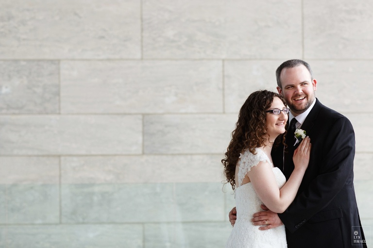 Portrait of a bride and groom who got married in Wellesley, Ontario.