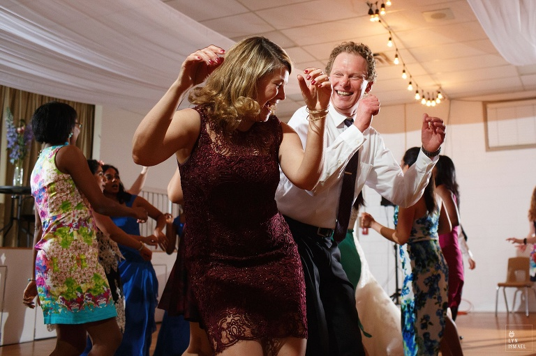Wedding guests dance at a wedding in Wellesley, Ontario.